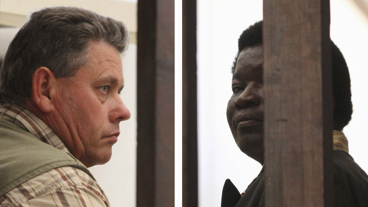 A combination photo shows Zimbabwean safari operator Honest Ndlovu (R) and fellow countryman and hunter Theo Bronkhorst waiting to appear in Hwange magistrates court, July 29, 2015. Ndlovu and Bronkhorst, the two Zimbabwean men who were paid $50,000 by an American hunter who killed 'Cecil', the country's best-known lion, arrived in court on Wednesday facing charges of poaching.American hunter Walter James Palmer has also been accused by wildlife officials of killing Cecil without a permit. Palmer, who has left Zimbabwe, says he killed the lion on July 1 but believed it was a legal hunt. REUTERS/Philimon Bulawayo