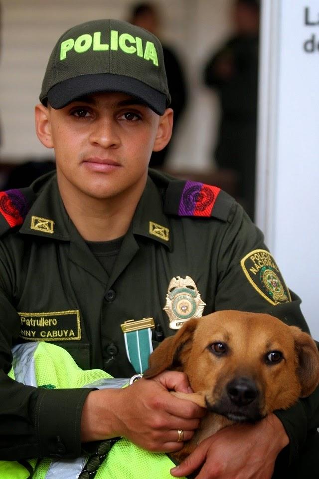 Policia Colombiano rescata a perro 5