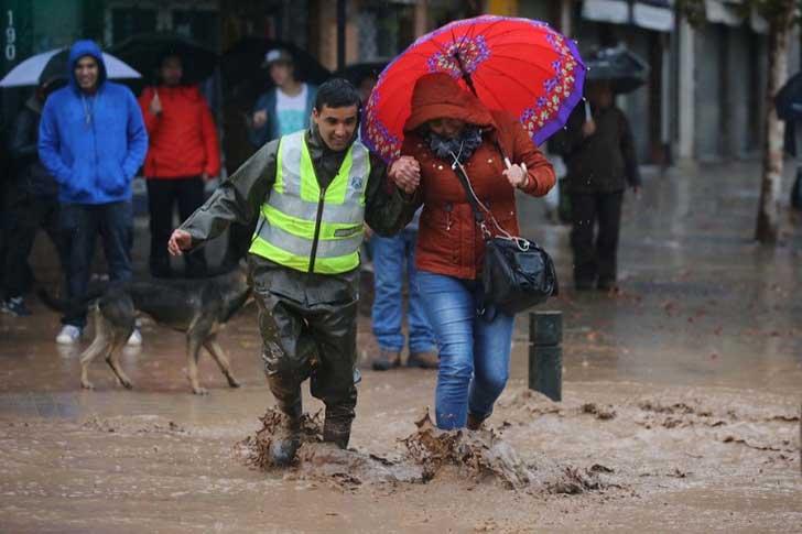 policía ayuda perro en inundación 4