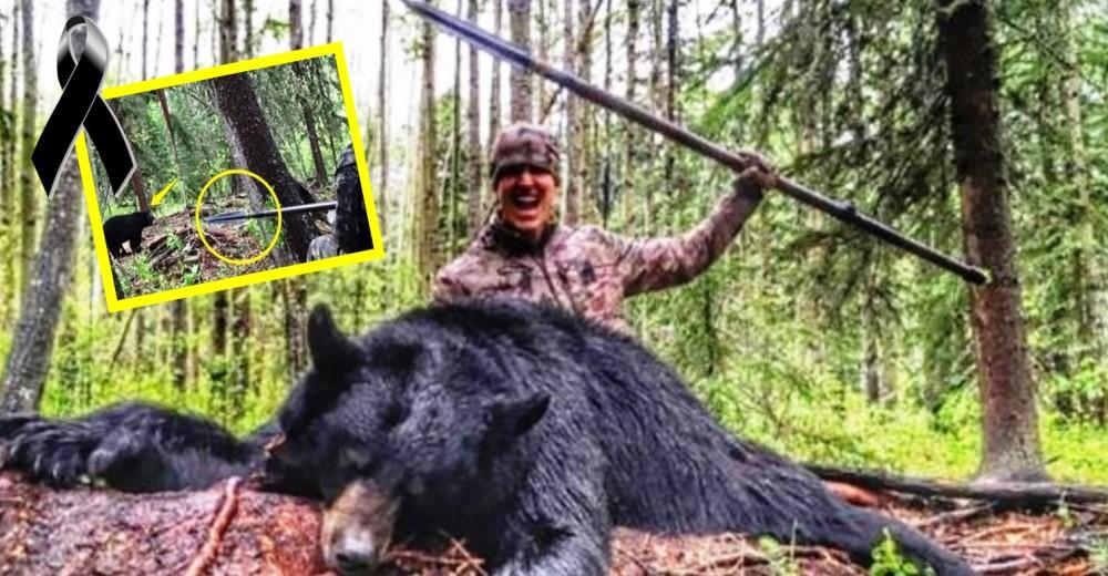 oso-muerto-con-lanza-hombre-celebra-cazarlo