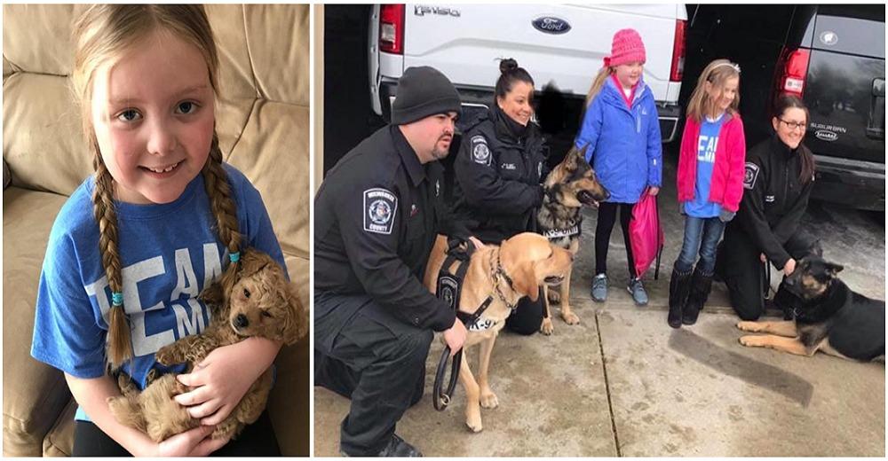 Cientos de perros policías cumplen el sueño de una pequeña de 7 años con cáncer terminal