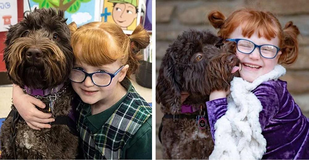 Invitan a la perrita de servicio de una niña especial a aparecer en la foto del anuario escolar