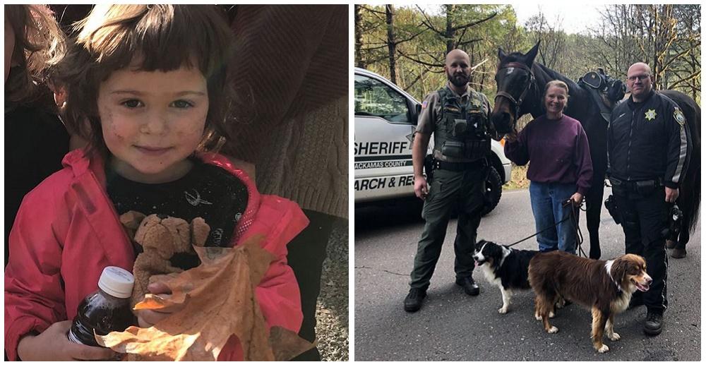 Dos perros y un caballo salvan la vida de una niña de dos años perdida en pleno bosque