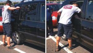 Hombre rompe el cristal de la ventana para salvar a un perrito encerrado en un auto caliente