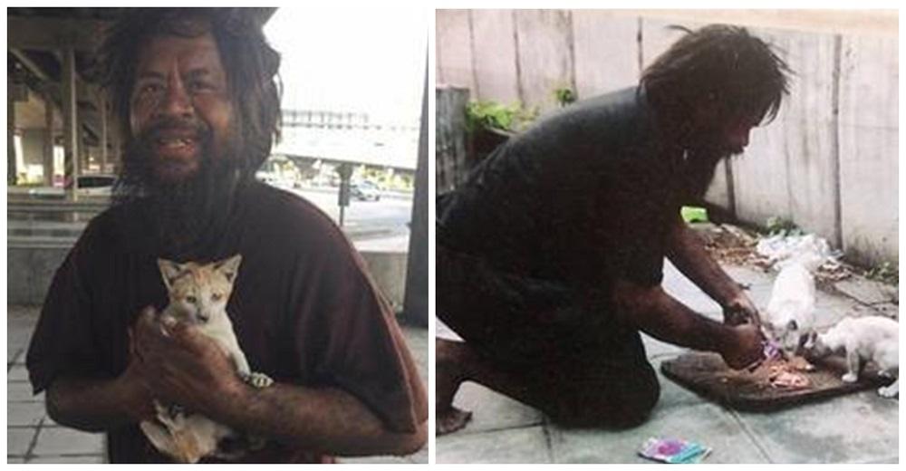 Hombre sin hogar se niega a comer para poder alimentar a los gatitos abandonados