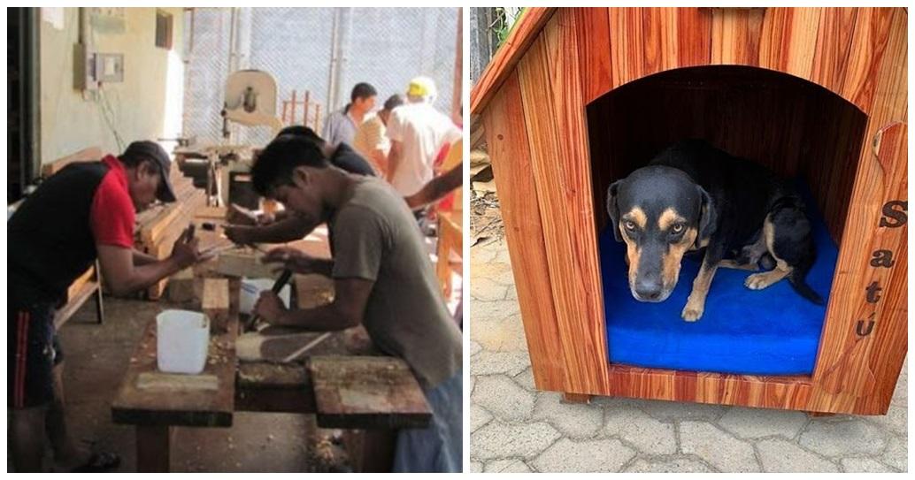 Reclusos construyen en clases de carpintería una casita para un perrito adoptado por la Policía