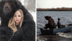 Mujer rusa rescata 1 oso abandonado cuando era un cachorro y ahora son compañeros inseparables