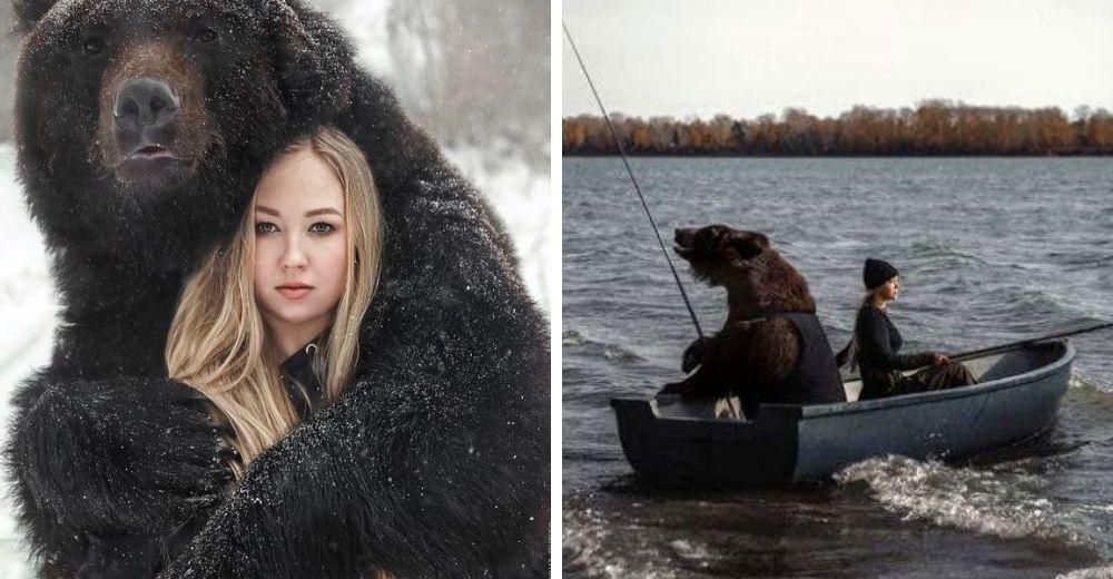 Mujer rusa rescata un oso abandonado cuando era un cachorro y ahora son amigos inseparables