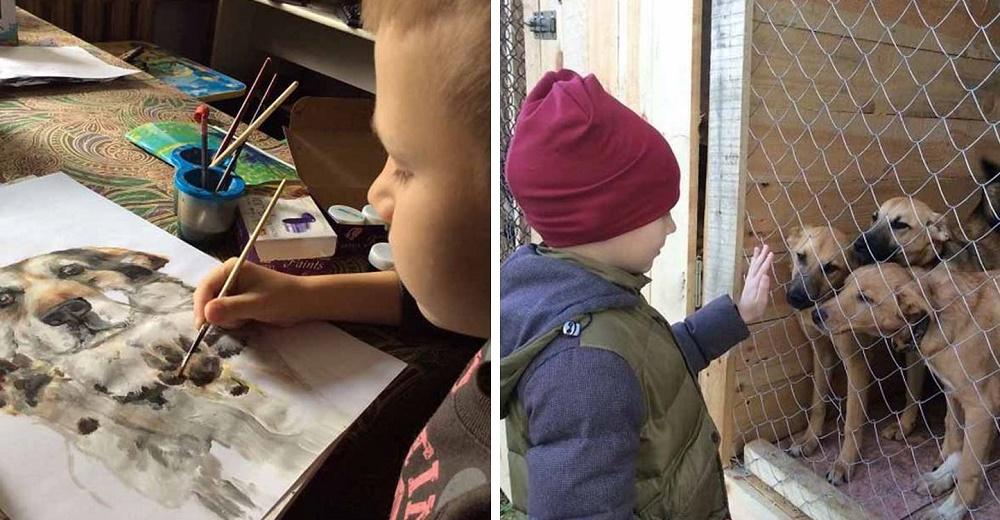 Niño crea pinturas de retratos de animales personalizadas a cambio de comida para un refugio